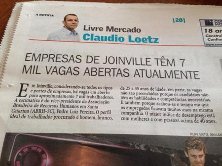 7 mil empregos em Joinville | Perfil procurado: homem,branco, 25 a 35 anos