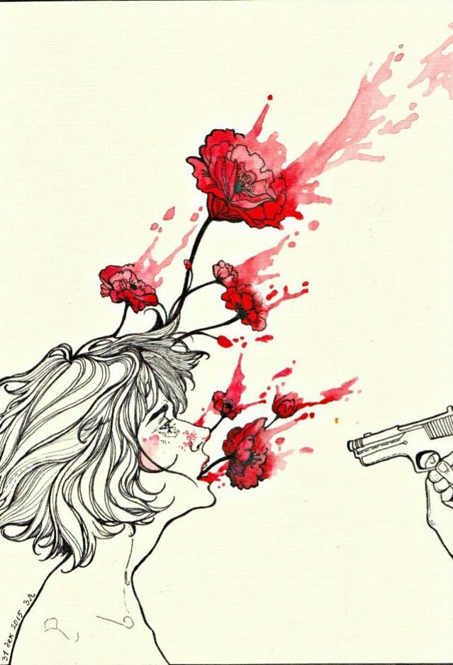 ilustração: uma arma, uma pessoa baleada, sangue sai dela como rosas
