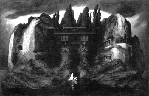 pintura: isle of the dead, de Karl Wilhelm Diefenbach, em homenagem à arte homônima de Alfred Böcklin